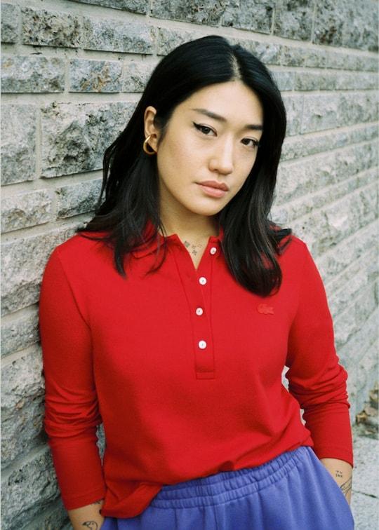 Red slim polo shirt with long crocodile sleeves